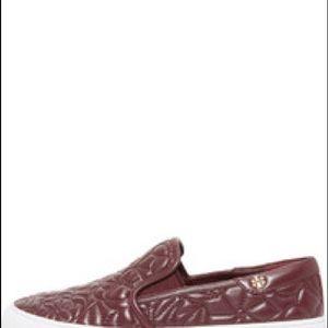Tory Burch Shoes - Tory Burch leather slip on sneaker maroon/burgundy